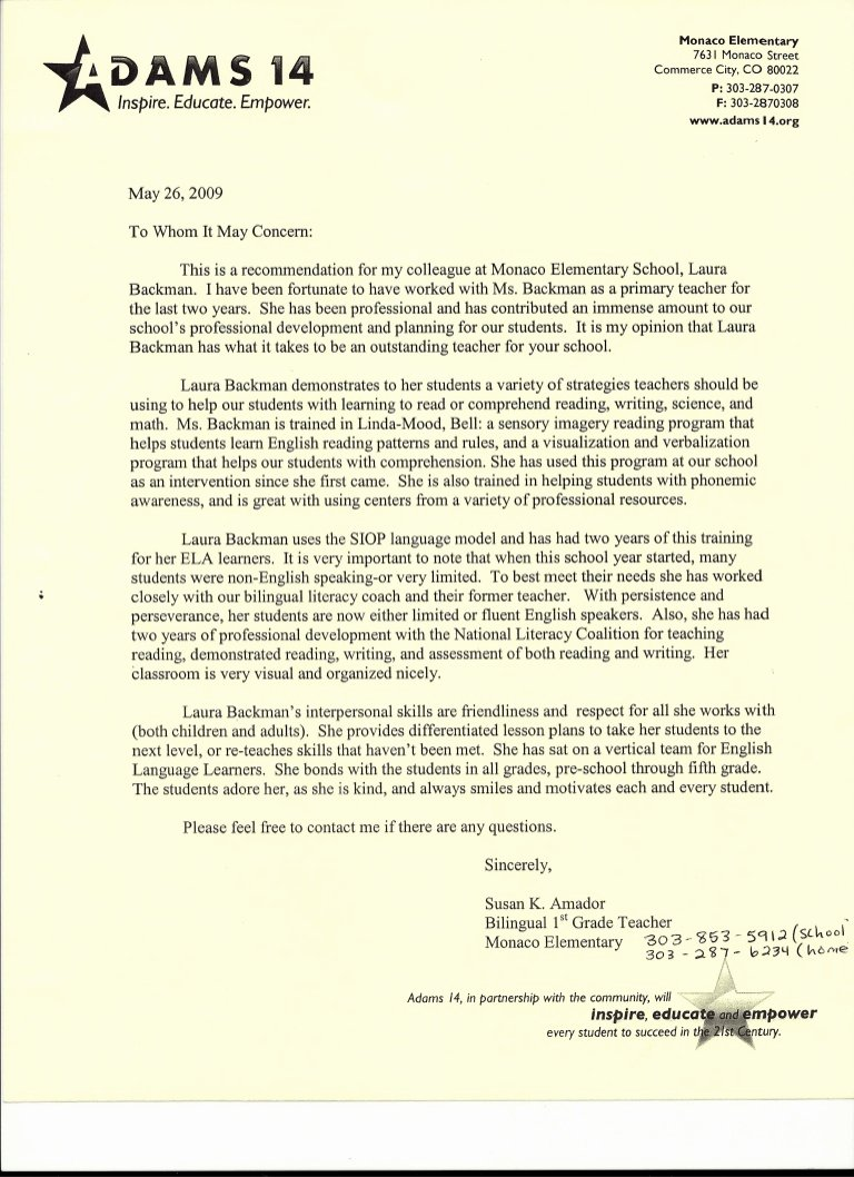 Letter Of Recommendation for Principals Lovely Letter Of Re Mendation From Elementary School Teacher