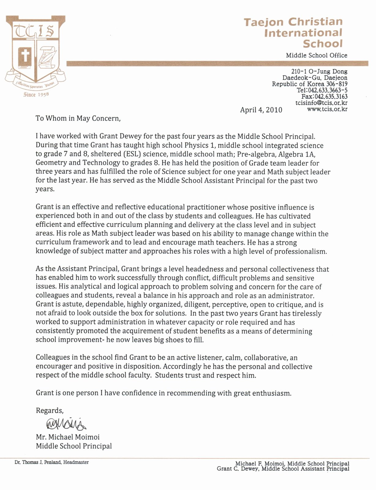 Letter Of Recommendation for Principals Unique Dynamic Dewey Systems Letter Of Reference Principal at Tcis