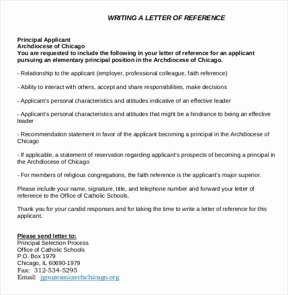 Letter Of Recommendation for Principalship Fresh 42 Reference Letter Templates Pdf Doc