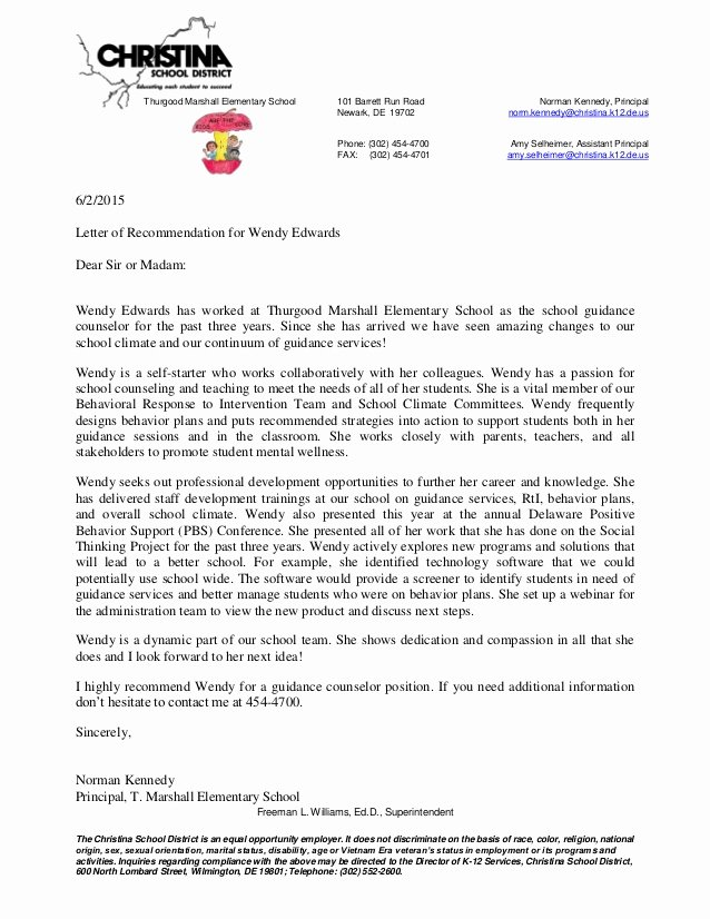 Letter Of Recommendation for Principalship New Principal Letter Of Re Mendation for Wendy Edwards