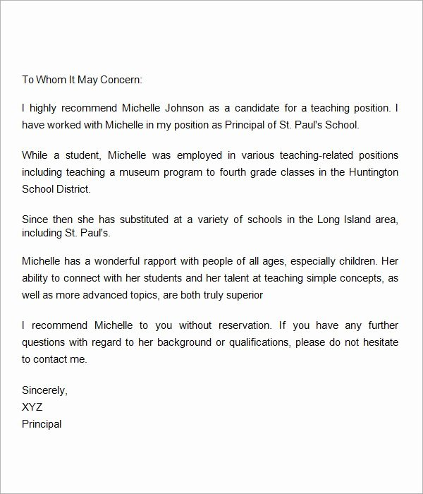 Letter Of Recommendation for Principalship Unique Sample Letter Of Re Mendation for Teacher 18