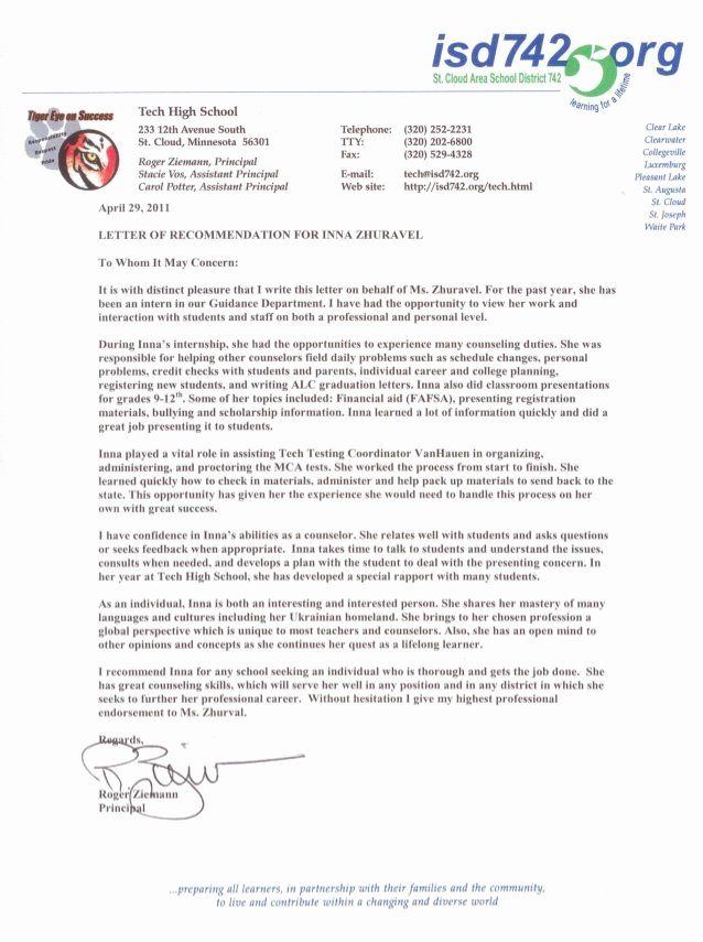 Letter Of Recommendation for Principalship Unique Tech High School Principal S Re Mendation Letter for