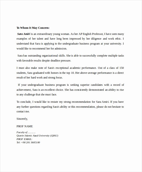 Letter Of Recommendation for Professorship Best Of 8 Reference Letter for Teacher Templates Free Sample