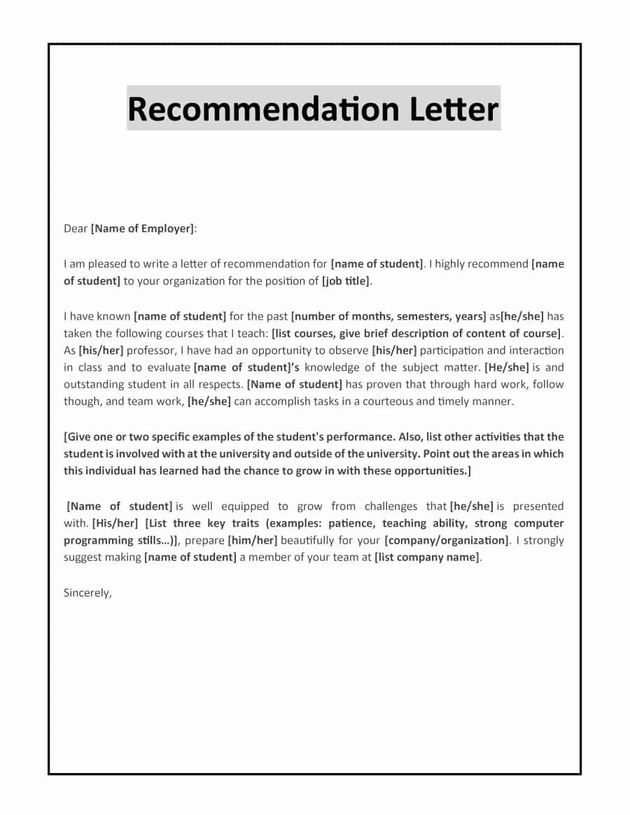 Letter Of Recommendation for Professorship Elegant 43 Free Letter Of Re Mendation Templates & Samples
