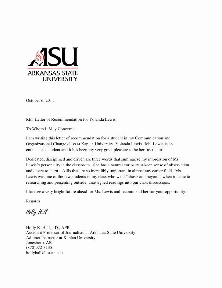 Letter Of Recommendation for Professorship Elegant Re Mendation Letter for Phd Student From Professor