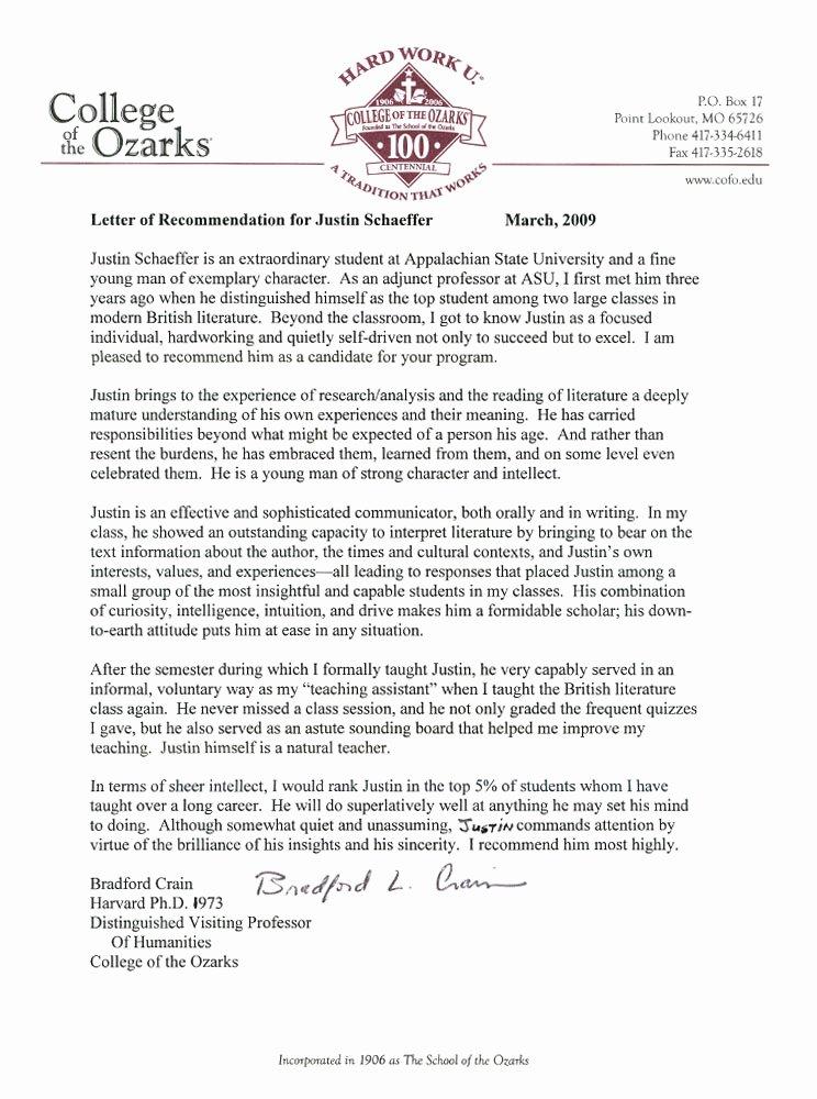 Letter Of Recommendation for Professorship Fresh Re Mendation Letter Student Pertamini