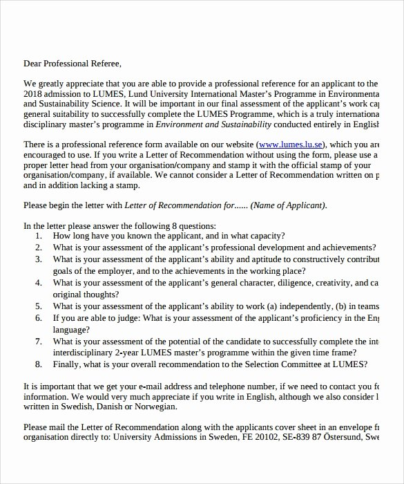 Letter Of Recommendation for Professorship Unique 9 Professional Letter Of Re Mendation to Download for