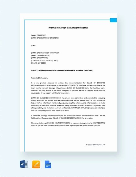 Letter Of Recommendation for Promotion Awesome 12 Promotion Re Mendation Letter Examples Pdf