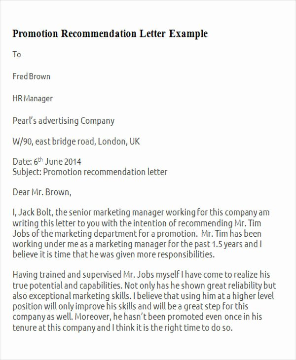 Letter Of Recommendation for Promotion Fresh 11 Sample Promotion Re Mendation Letter Free Sample