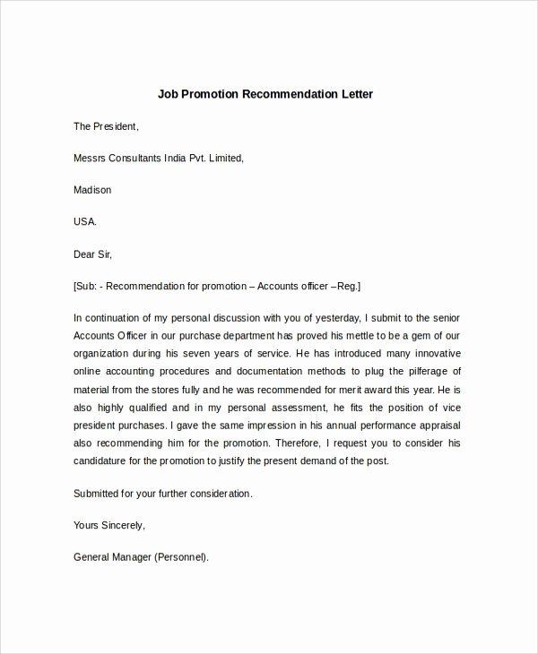 Letter Of Recommendation for Promotion Fresh 7 Sample Job Re Mendation Letters