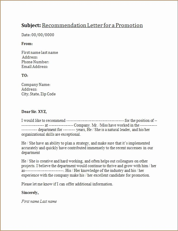 Letter Of Recommendation for Promotion Inspirational Promotion Re Mendation Letters