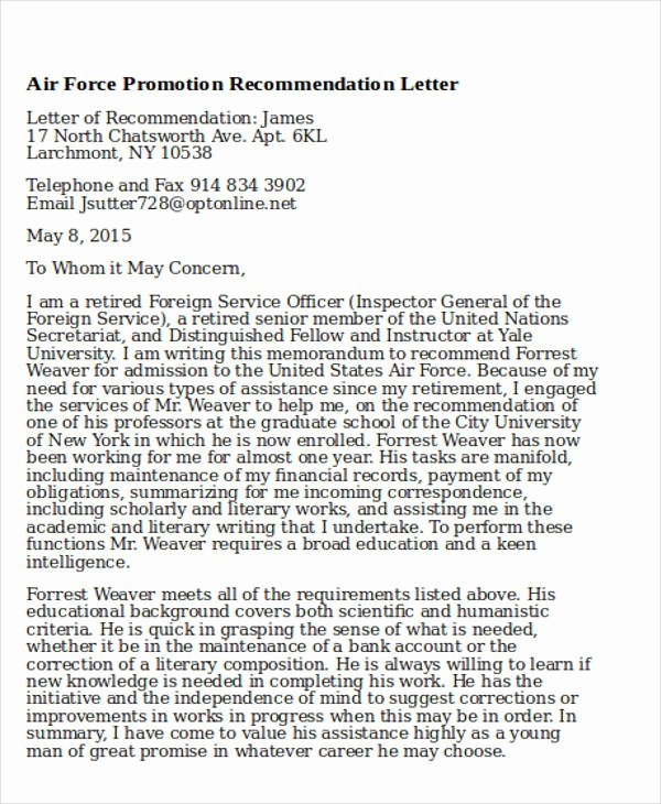 Letter Of Recommendation for Promotion New 6 Sample Air force Re Mendation Letter Free Sample