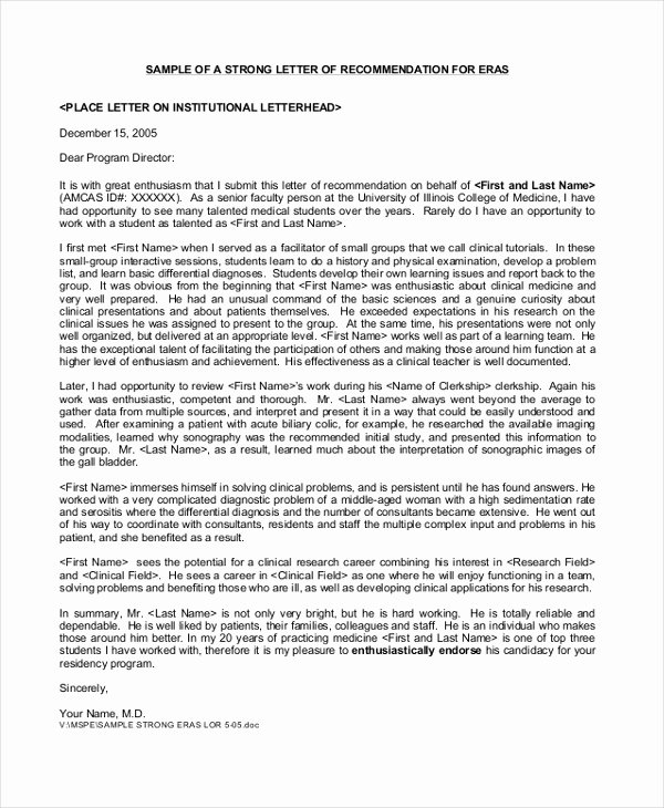 Letter Of Recommendation for Residency Beautiful Sample Letters Of Re Mendation 5 Free Documents In