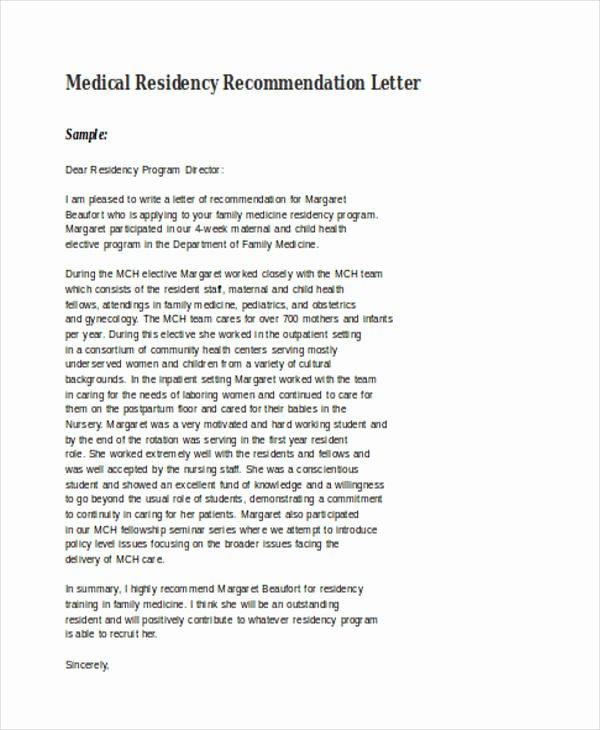 Letter Of Recommendation for Residency Best Of 89 Re Mendation Letter Examples & Samples Doc Pdf