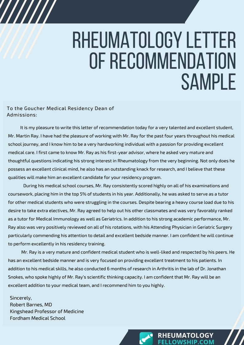 Letter Of Recommendation for Residency Best Of Exceptional Rheumatology Letter Of Re Mendation Residency