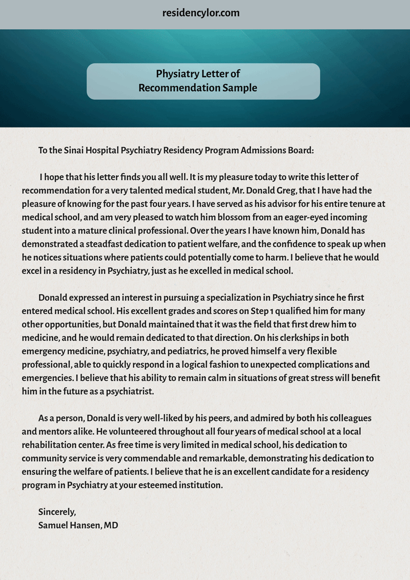 Letter Of Recommendation for Residency Fresh Professional Medical Re Mendation Letter for Residency