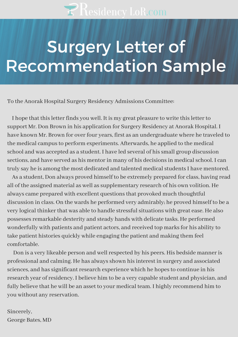 Letter Of Recommendation for Residency Fresh Reliable Surgery Letter Of Re Mendation assistance