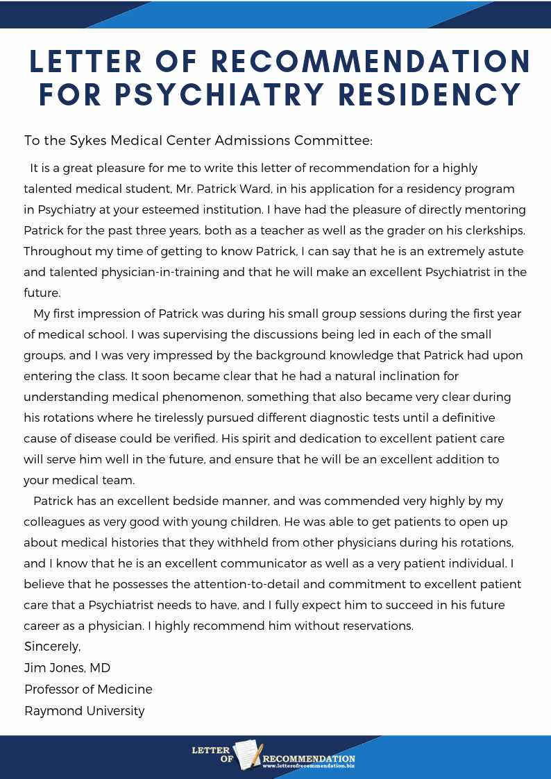 Letter Of Recommendation for Residency New Psychiatry Letter Of Re Mendation