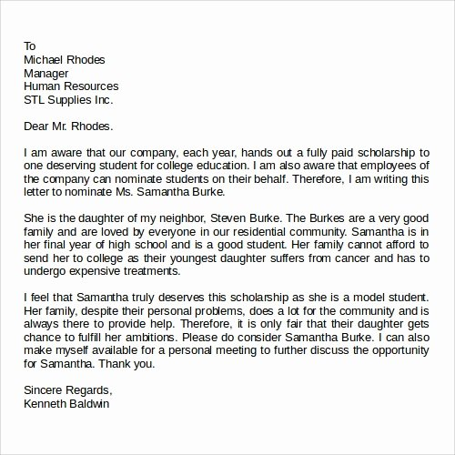 Letter Of Recommendation for Scholarship Awesome 28 Letter Of Re Mendation In Word Samples