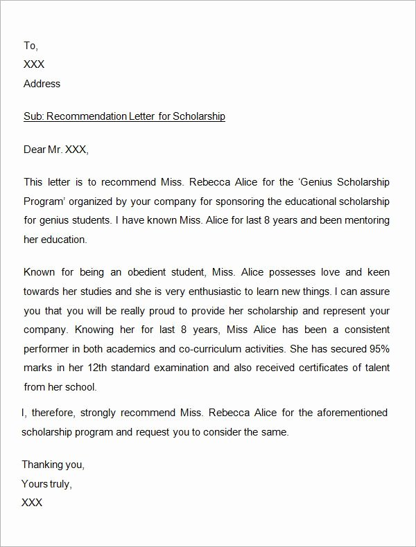 Letter Of Recommendation for Scholarship Beautiful Sample Letter Of Re Mendation for Scholarship 29