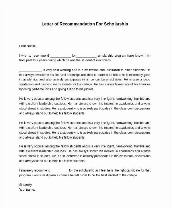 Letter Of Recommendation for Scholarship Lovely 8 Sample Re Mendation Letters