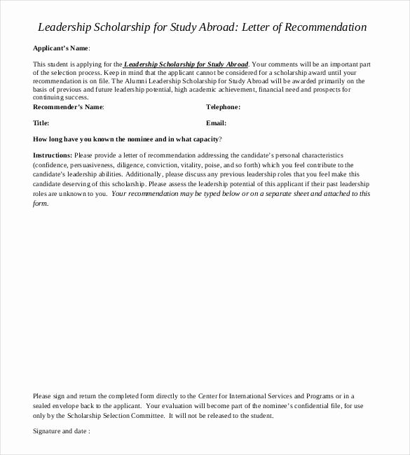 Letter Of Recommendation for Scholarships Awesome 27 Letters Of Re Mendation for Scholarship Pdf Doc