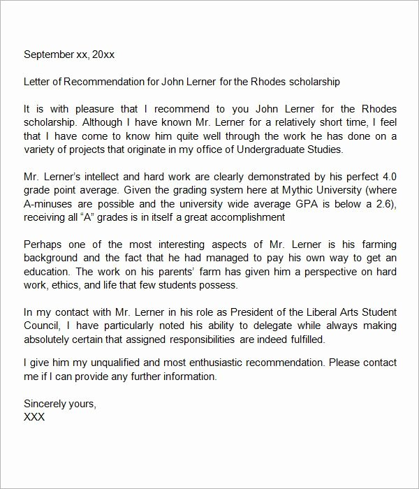 Letter Of Recommendation for Scholarships Fresh Sample Letter Of Re Mendation for Scholarship 29