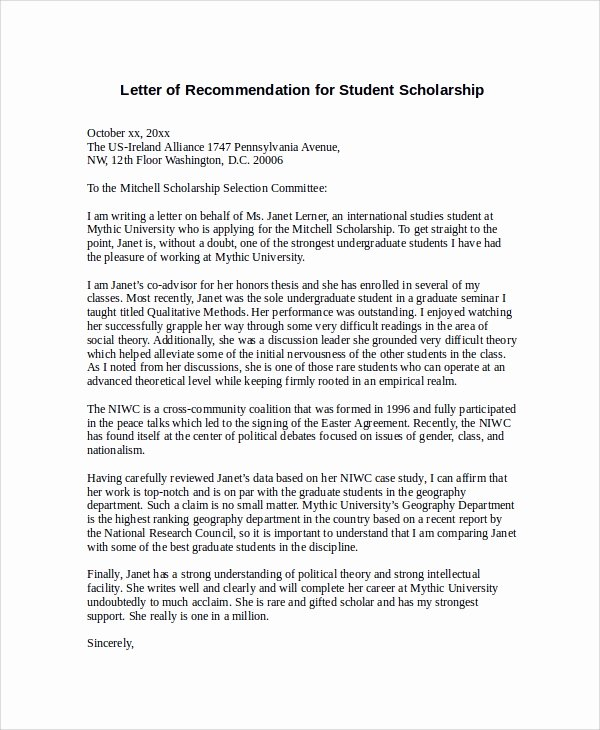 Letter Of Recommendation for Scholarships Inspirational 30 Sample Letters Of Re Mendation for Scholarship Pdf