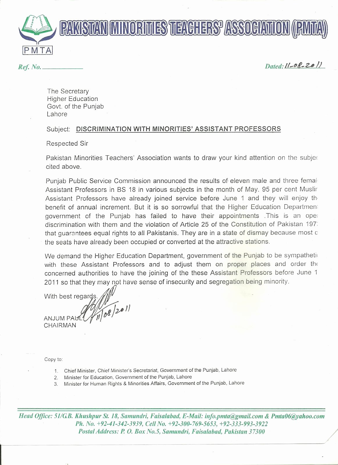 "Letter Of Recommendation for Secretary Lovely Pakistan Minorities Teachers association ""discrimination"