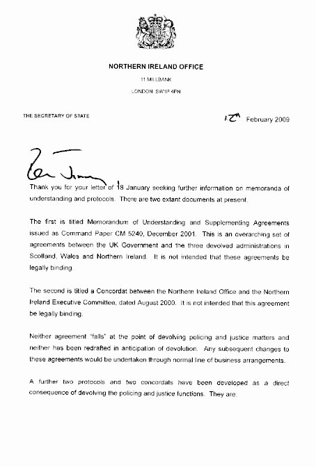 Letter Of Recommendation for Secretary Unique Wel E to the northern Ireland assembly Second Report