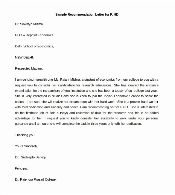 Letter Of Recommendation for sorority Inspirational 30 Re Mendation Letter Templates Pdf Doc
