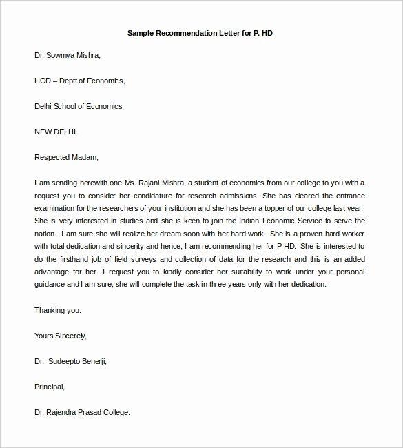Letter Of Recommendation for sorority Inspirational 30 Re Mendation Letter Templates Pdf Doc