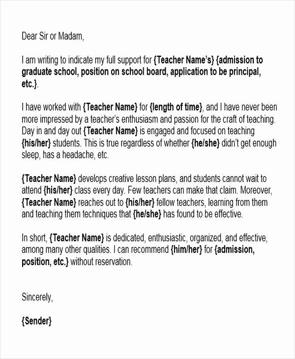 Letter Of Recommendation for Teacher Elegant 6 Reference Letter for Teachers Free Sample Example