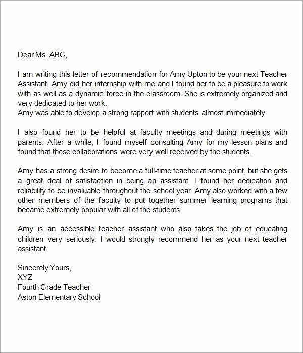 Letter Of Recommendation for Teacher Inspirational Re Mendation Letter for Teacher assistant