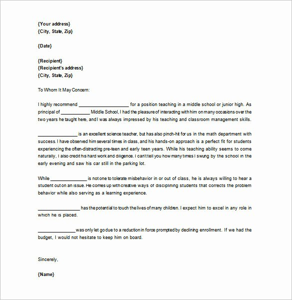 Letter Of Recommendation for Teachers Luxury Letter Of Re Mendation for Teacher – 12 Free Word