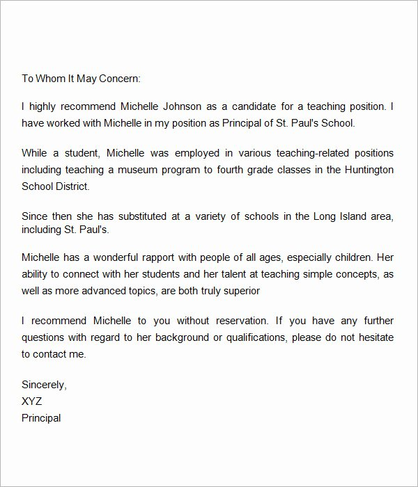 Letter Of Recommendation for Teachers Luxury Sample Letters Of Re Mendation for Teacher 12
