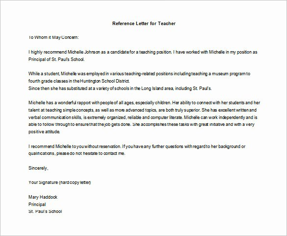 Letter Of Recommendation for Teachers New Letter Of Re Mendation for Teacher – 12 Free Word