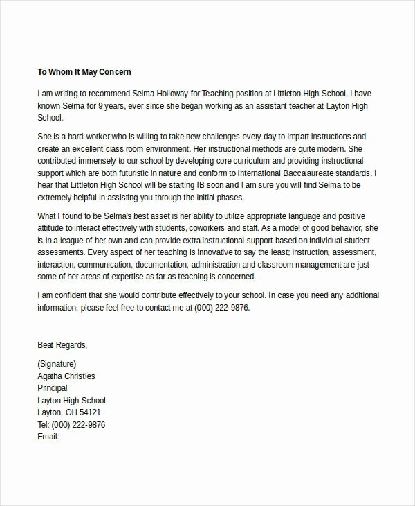 Letter Of Recommendation for Teaching Beautiful 7 Teacher Reference Letters Free Samples Examples