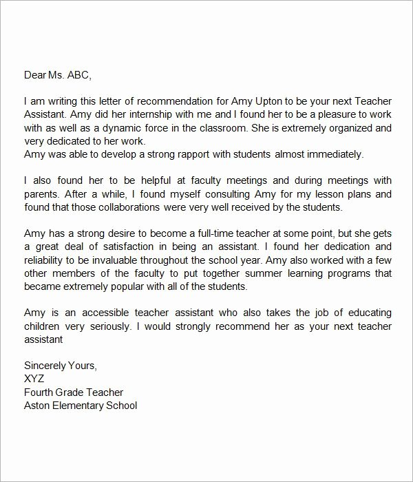 Letter Of Recommendation for Teaching Inspirational Sample Letter Of Re Mendation for Teacher 18
