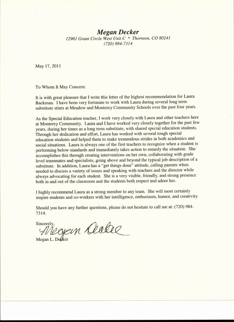 letter of re mendation from special education teacher from megan decker
