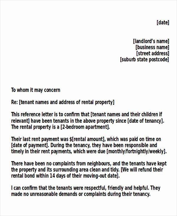 Letter Of Recommendation for Tenant Best Of 5 Sample Tenant Re Mendation Letter Free Sample