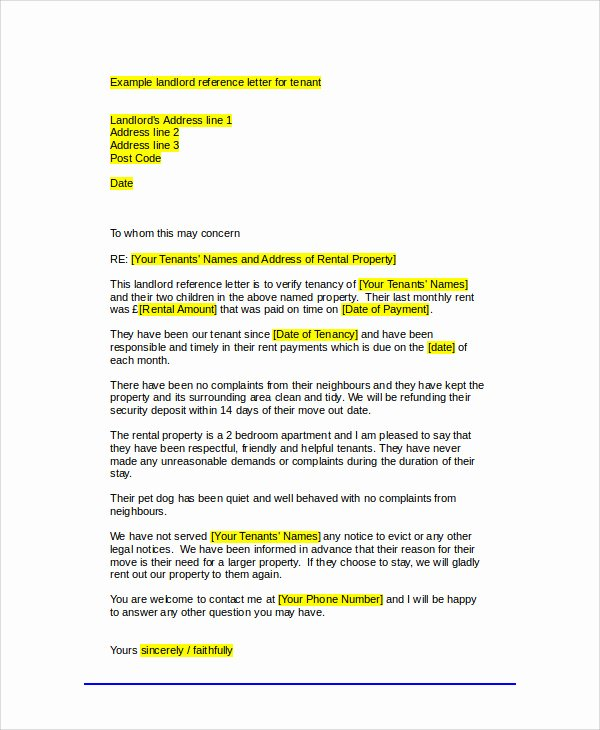 Letter Of Recommendation for Tenant Best Of Sample Tenant Re Mendation Letter 7 Examples In Word Pdf