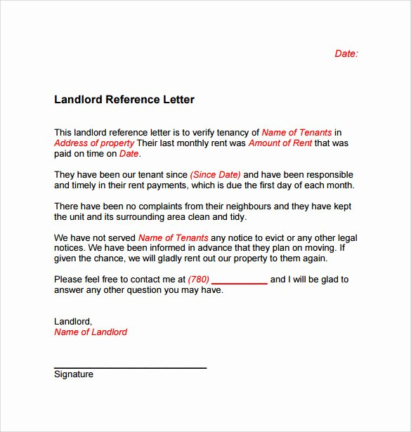 Letter Of Recommendation for Tenant Fresh Landlord Reference Letter Template 10 Samples