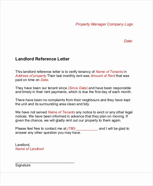 Letter Of Recommendation for Tenant Lovely 6 Sample Landlord Re Mendation Letters
