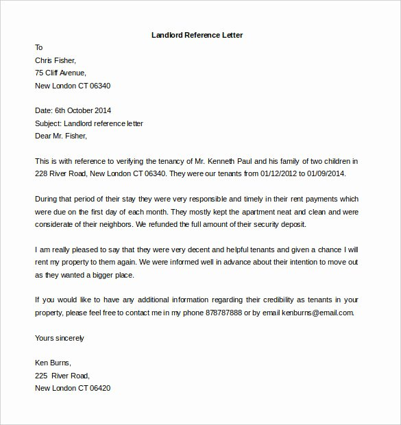 Letter Of Recommendation for Tenant Luxury Free Reference Letter Templates 24 Free Word Pdf