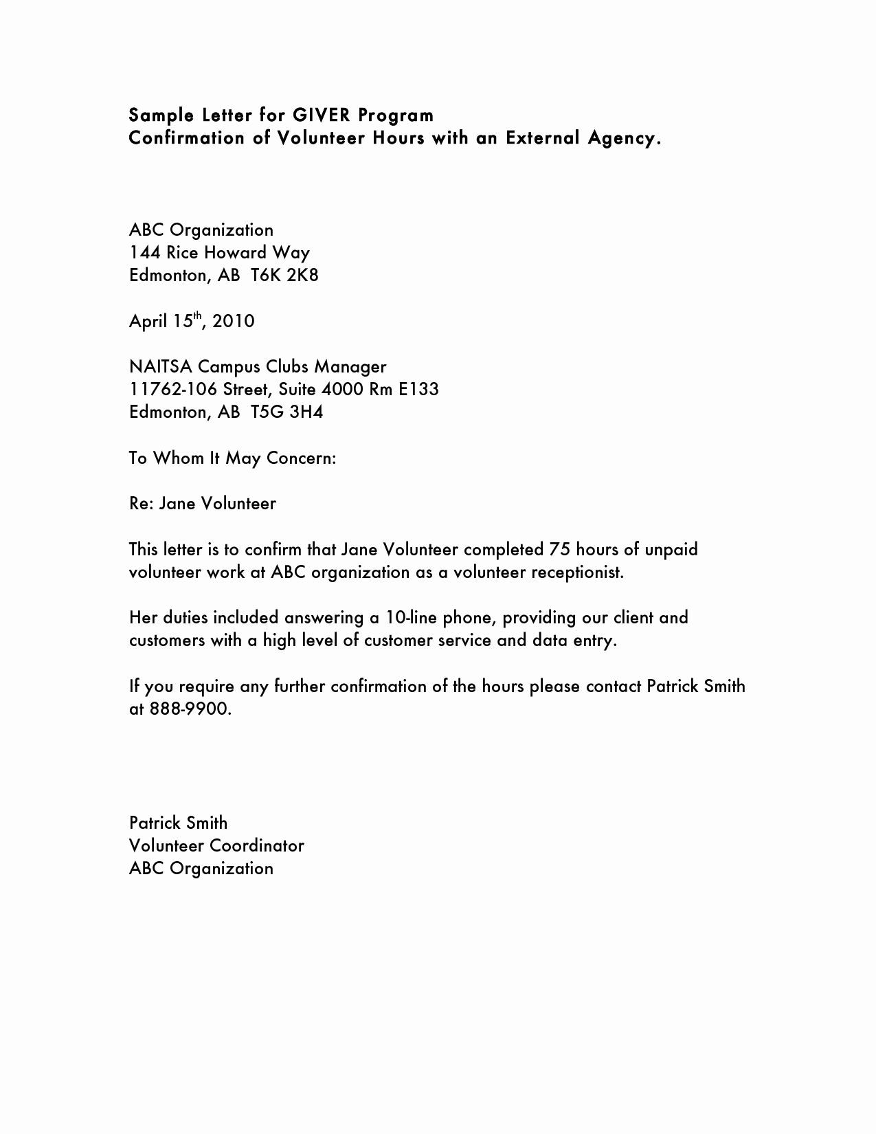 Letter Of Recommendation for Volunteer Beautiful Volunteer Hours Letter Templatevolunteer Letter Template