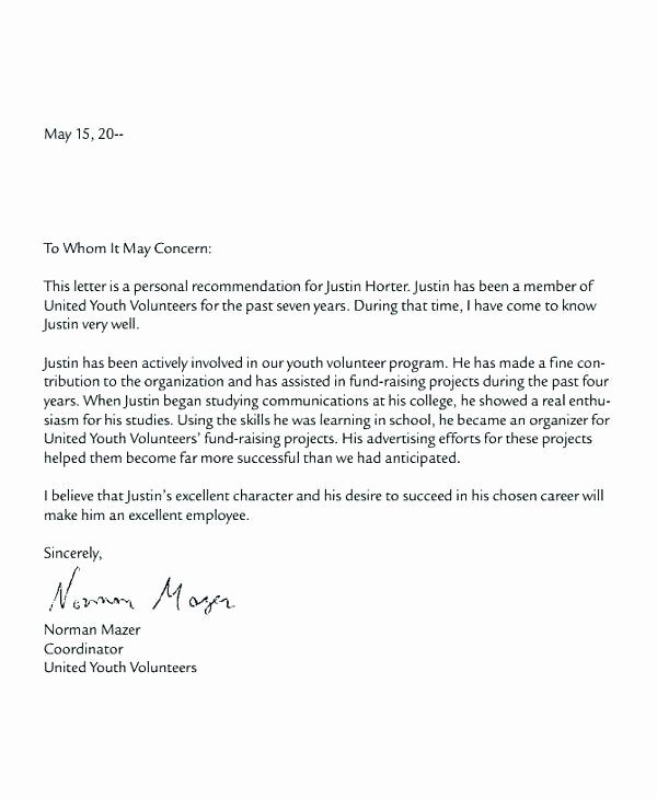 Letter Of Recommendation for Volunteer Elegant Examples Sample Volunteer Hours Letter Munity Service