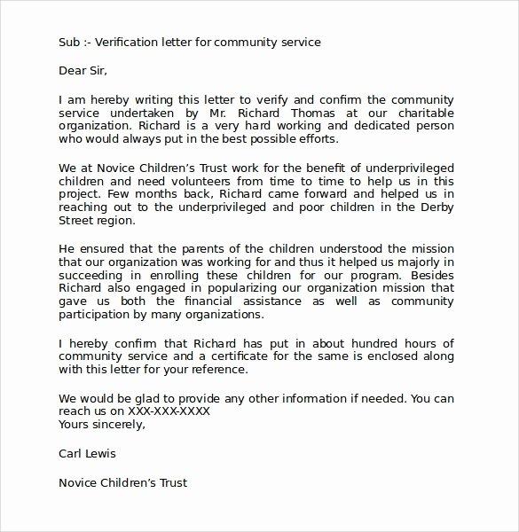 Letter Of Recommendation for Volunteer Elegant Sample Munity Service Letter 25 Download Free