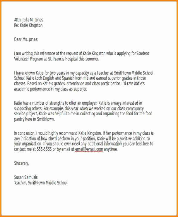 Letter Of Recommendation for Volunteer Lovely 12 Letter Of Re Mendation for A Volunteer Student