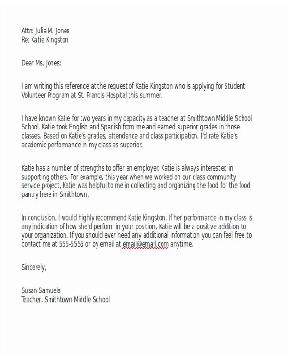 Letter Of Recommendation for Volunteer Unique 7 Sample Reference Letter for Schools